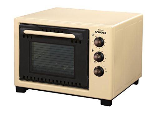 Schäfer 20 Liter Backofen im Retro-Design - 1000 Watt stufenlos regelbarer Thermostat 90-Minuten-Timer inkl. Backblech, Grillrost, Krümelblech (Beige)