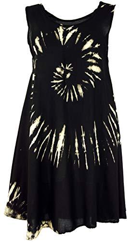 GURU SHOP Batik Tunika, Hippie Chic, Strandkleid, Sommerkleid, Damen, Schwarz, Synthetisch, Size:40, Kurze Kleider Alternative Bekleidung
