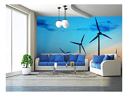 wall26 - Wind Turbine Farm with Rays of Light at Sunset - Removable Wall Mural | Self-Adhesive Large Wallpaper - 66x96 inches