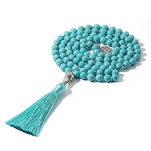 Mala Halskette 8mm Türkis Stein Halskette Yoga Schmuck Japa Mala Gebet 108 Perlen Meditation geknotete Halskette