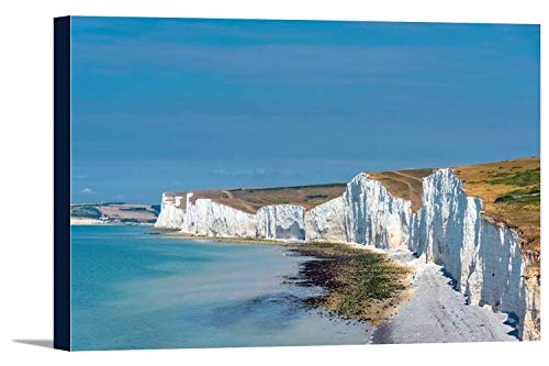 daoyiqi Canvas Wall Art England - The White Cliffs of Dover Gallery Wrapped Stretched Canvas Wall Decor Canvas Prints for Bathroom Bedroom Wall Decoration