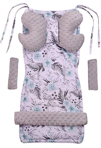 Universal Sitzauflage Kinderwagen & Buggys Sitzeinglage Kinderwagendecke 5tgl Gurtpolster + Spielbogen Kinderwagenset MINKY Baumwolle Medi Partners (Blument mit grauen Minky)