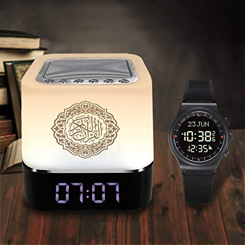 AL-SAHAR New Speaker and Azan Watch, Quran Speaker Lamp with Remote, Portable LED Bluetooth Touch Cube FM MP3 Music Player Night Light Rechargeable Bedside Outdoor Desk Table Lamp.