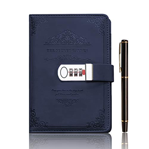 XIYUNTE Diary Notebook with Combination Lock, PU Leather Journal Diary with Pen Set, A5 Lined/Blank Personal Diary, Thicken 200page Vintage Secret Notebooks for Girls, Boys, Adults, Gift Box-Blue