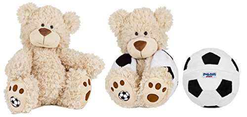 Buddy Balls Plush Teddy Bear Convertible Toy Soccer Ball-Tory, Cream/Black/White
