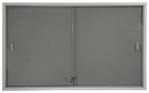 5' x 3' Indoor Bulletin Board with Sliding Glass Doors, 60 x 36 Enclosed Notice Board with Gray Fabric Interior, Aluminum