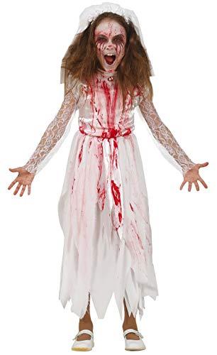 Girls Dead Zombie Bloody Bride Halloween Carnival Fancy Dress Costume Outfit 5-12 Years (7-9 Years)