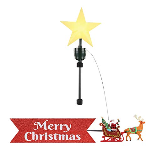 Mr. Christmas Animated Tree Topper - Santa's Sleigh with Banner Christmas Décor, Red