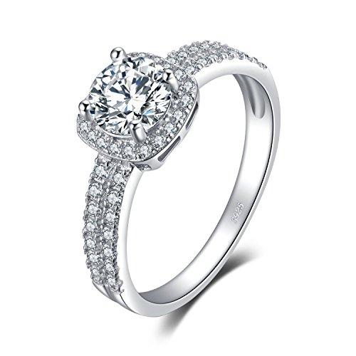 JewelryPalace Halo 1ct Rond Zircone Cubique Fiançailles Mariage Alliance Anniversaire Promesse Bague en Argent Sterling 925