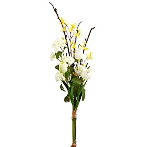 42″ Handwrapped Tulip, Forsythia & Snowball Silk Flower Bouquet -White/Yellow (Pack of 6)
