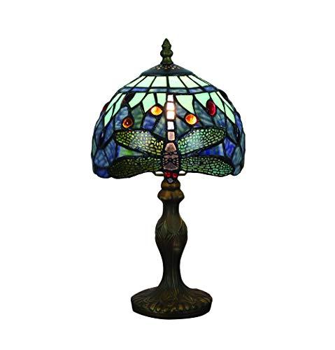 Tokira Lámparas de mesa vintage de Tiffany 8 pulgadas, patrones de lámparas de vidrio manchado Hecho a mano SeaBlue Dragonfly Dormitorio Lámparas de noche Sala de estar Moderna