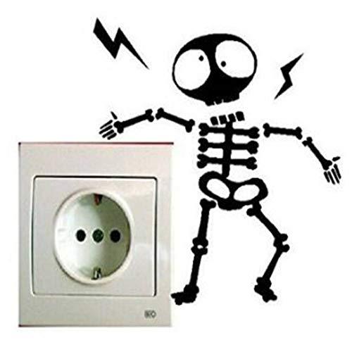 MMLFY Muursticker 4 PCS leuk zwart elektrisch gevaar herinnering schakelaar muur stickers koelkast kast stickers decoratie herinnering