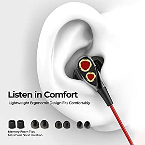 Linklike Upgraded Quad Drivers Bluetooth 5.0 Headphones, 16 Hours Playtime, HiFi Sound, IPX7 Waterproof, Noise Isolating Earphones with Mic, Lightweight Wireless Earbuds for Workout, Sports, Gym