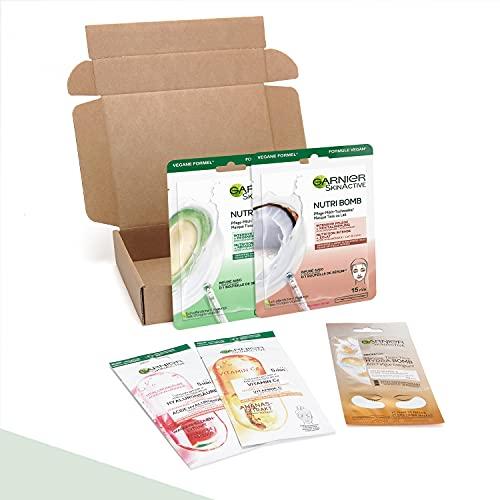 Garnier - Coffret 5 Masques en Tissu - Éclat et Nutrition - Masques Nutribomb, Ampoule et Hydrabomb
