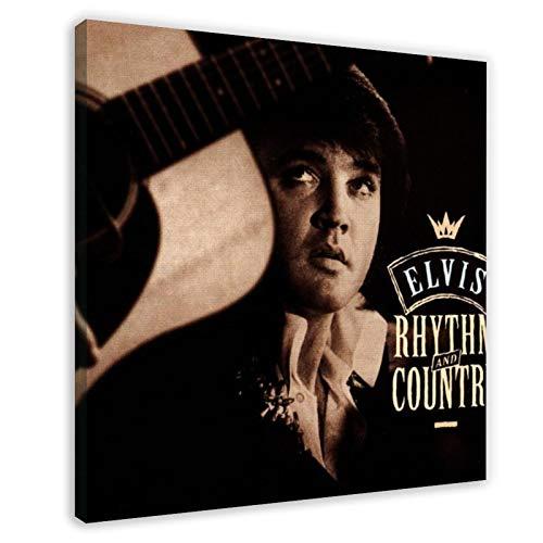 Lienzo de Elvis Aaron Presley con portada del álbum de Elvis Aaron Presley Essential Elvis, Volumen 5, Ritmo y País, para decoración de pared de 60 x 60 cm, estilo marco