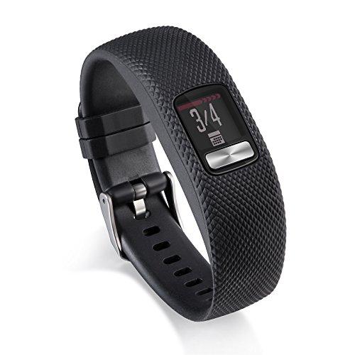 MyFitBands Correa de repuesto para Garmin Vivofit 4 Fitness Tracker Pulsera de muñeca negra pequeña