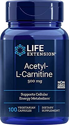 Life Extension Acetyl-L-Carnitine (500mg, 100 Vegetarian Capsules)