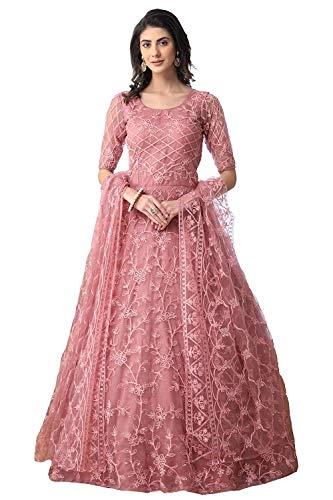 Vaani Creation Embroidery Anarkali Semi Stitched Gown(Free Size)