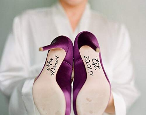 H421ld Pegatinas personalizables para zapatos de boda, impermeables, 2 calcomanías en el juego, regalo de boda, color personalizado, accesorio único de boda, regalo para novia