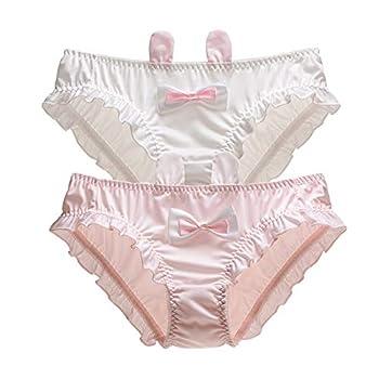 N-A KINCOSONE Womens Bikini Panties Japanese Lingerie Briefs 2 Pack Kawaii Cosplay Underwear  Pink and White