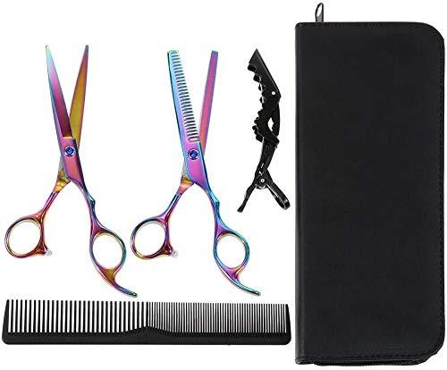 Lictin Friseurschere Haarausfallschere Set und Haarschere 6,0 Zoll Präsentationskoffer Box Black Comb Black Haarspange