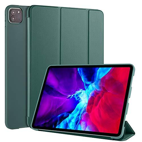 A-BEAUTY Capa para iPad Pro 11 polegadas versão 2020 e 2018 com protetor de tela + caneta Stylus, capa fina e leve de TPU (poliuretano termoplástico) com suporte de três dobras automático para hibernar/despertar, verde escuro