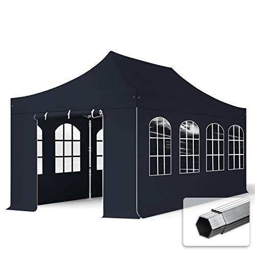 TOOLPORT Faltzelt Faltpavillon Professional 3x6 m mit 4 Seitenteilen - ALU Pavillon Partyzelt in schwarz