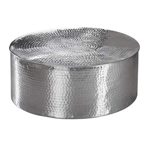 FineBuy Couchtisch Rahim 75 x 31 x 75 cm Aluminium Silber Beistelltisch orientalisch rund | Flacher Hammerschlag Sofatisch Metall | Design Wohnzimmertisch modern