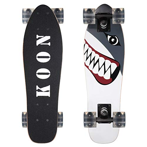 KOON Skateboards 22 Inch Complete Mini Cruiser Skateboard for Beginner Boys and Girls (Shark)