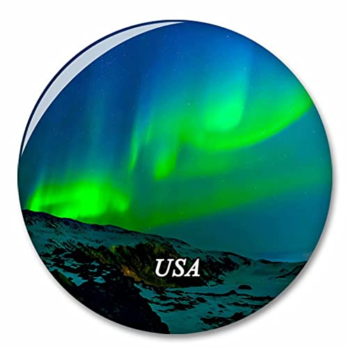 Estados Unidos América Northern Lights Alaska Imán de Nevera, imánes Decorativo, abridor de Botellas, Ciudad turística, Viaje, colección de Recuerdos, Regalo, Pegatina Fuerte para Nevera