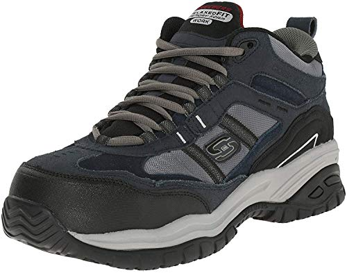Skechers Men's Work Relaxed Fit Soft Stride Canopy Comp Toe Shoe, Navy/Gray - 8 B(M) US