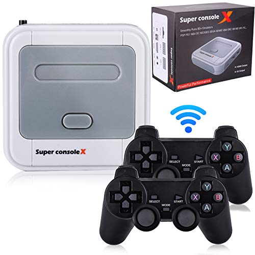 Hawiton Wireless Retro Game Console with Dual 2.4GHz Controllers Gamepads, Super Console X Handheld Video TV Game Console Built in 41,000+ Games, 50+ Emulator Console for 4K TV HDMI/AV Output, 128GB