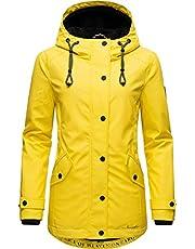 Navahoo Lindraa Regenjas voor dames, outdoorjas, korte jas, teddy gevoerd, waterdicht, met capuchon, XS-3XL