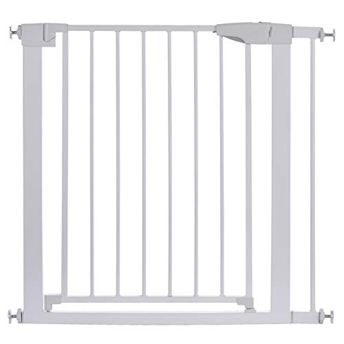 Sararoom Valla de la puerta, Easy Close Barrera de seguridad para puertas y escaleras, puerta de seguridad 83cm hasta 89cm con extensiones, barrera escalera bebé, niños y perros -Blanco
