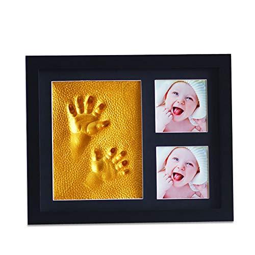 Kit cadre photo empreinte de main et empreinte béb Immortaliser vos souvenirs bébé main et de pied Prints Bricolage non toxique Tapis d'encre bébé mains et des pieds Imprimer boue Cadeau commémoratif