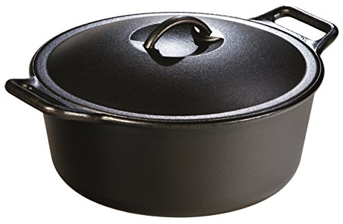Lodge P12D3 B0001DJVGU Seasoned Dutch Oven 7 Quart 7 qt Black