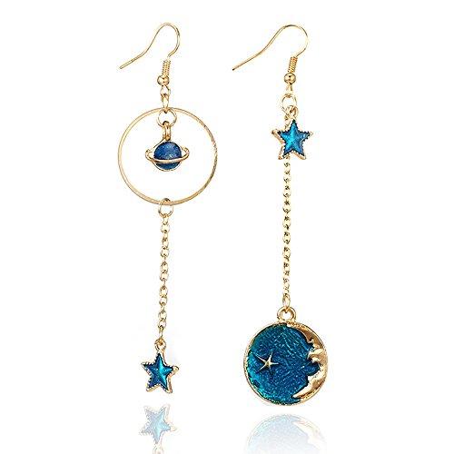 Fossrn Pendientes Mujer largos Brillantes Moda Azul Estrella lunar Pendientes Joyas (Azul)