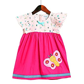 Hopscotch Sorbet Girls Cotton Printed Ruffled Sleeves Dress with Butterfly Embroidery in Pink Color
