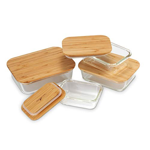 Nummyware Plastic-free Glass Food Containers with Sustainable Bamboo Tops (Set of 4: 370mL, 640mL, 1040mL, 1520mL)