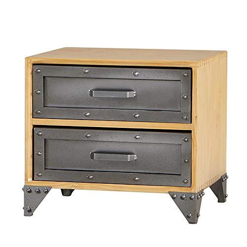 Jcnfa-bijzettafel industrieel massief hout dubbele lade eindtafel, nachtkastje, klinknagel basis, hout retro grijs