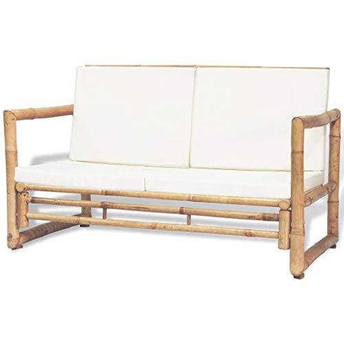 FAMIROSA 2-Sitzer Gartensofa mit Polstern Bambus