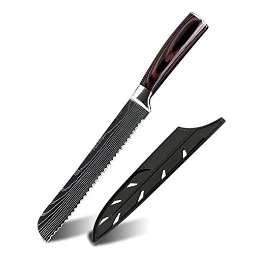 Cuchillo profesional Conjunto Cuchillos de cocina Damasco Patrón Chef Cuchillo Cuchillo Corte herramienta Utilidad (Color : 8in Bread Knife)