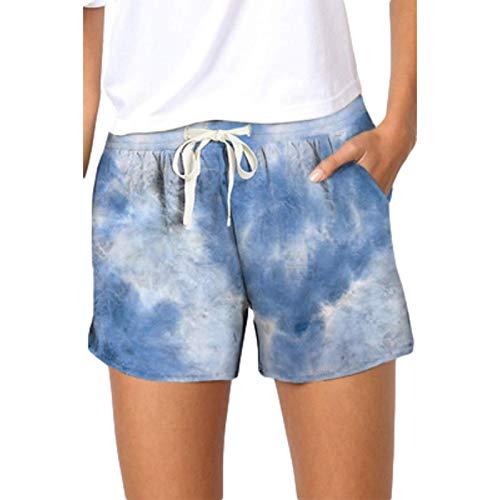 Pantaloncini Sportivi Casual da Donna con Stampa Tie-Dye Estiva da Donna con Tasche e Coulisse in Vita Regolabile 5X-Large