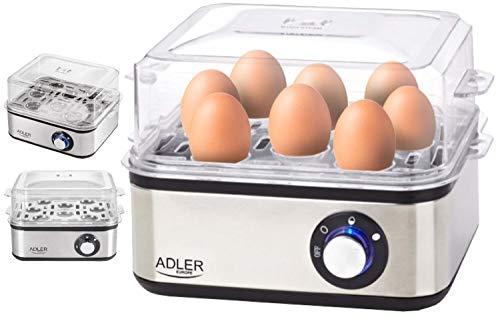 Elektrischer Eierkocher   800 Watt   Für 1-8 Eier   Automatische Abschaltung mit Signal   Eier Kocher   Egg Cooker   Edelstahlheizplatte   Elektronischer Eierkocher