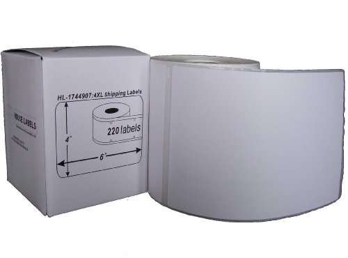 Houselabels HL-1744907 4 x 6 Inches Dymo-Compatible 1744907 Shipping and Postage Labels for 4XL, 1 Roll, 220 Labels per Roll