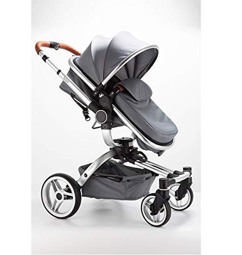 Blij'r Stef 2in1 Luxus Kombi Kinderwagen mit Babyschale 360 Grad drehbar Buggy grau Baby