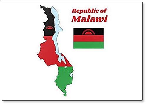 Kühlschrankmagnet, Motiv Karte & Flagge von Malawi