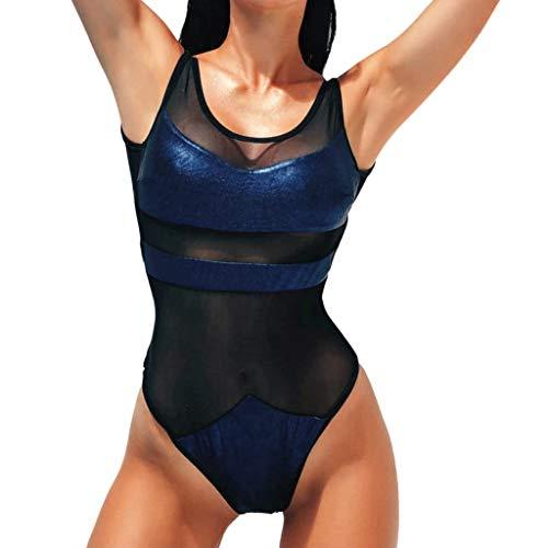 iYmitz Einteiliger Pailletten Badebekleidung Damen Sommer Bikini Beiläufig Solide Set Badeanzug Schnelltrocknend Bademode