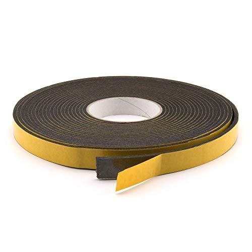 GleitGut Filzband selbstklebend - Länge: 3 m auf der Rolle - Filzklebeband Meterware - Breite: 15 mm Filzstärke: 3 mm schwarz