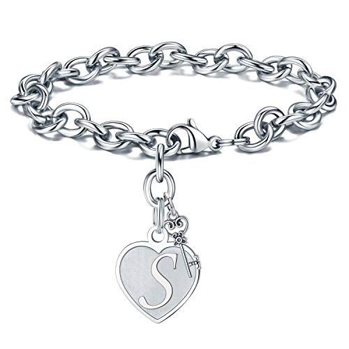 Initial Bracelet for Women Charm Hypoallergenic - Engraved Letter S Initial Bracelet Stainless Steel Womens Tiny Heart Letter Link Charm Bracelet Adjustable Birthday Jewelry Gifts for Her Women